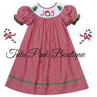 Smocked Red Gingham Bishop Dress Joy