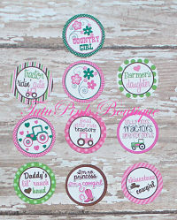 Bottle Caps Country Cutie John Deere Inspired Pink