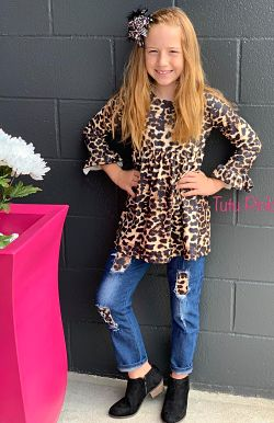 Leopard Tunic & Denim Pants Set