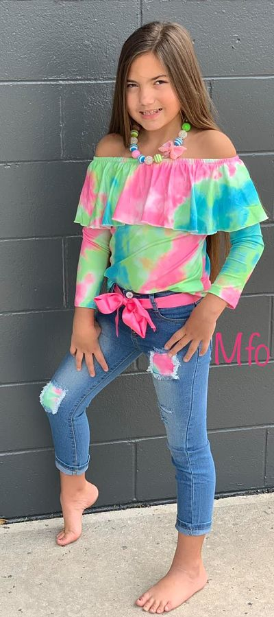 Tie Dye Tunic & Denim Pants Set