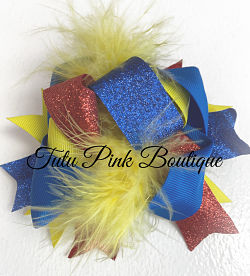 Hair Bow Boutique Layered Feather Bow Princess Snow