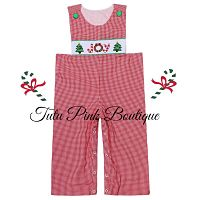Smocked Red Gingham Longall Christmas Joy