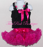 Petti Top Chiffon Ruffles Black with Hot Pink Bow