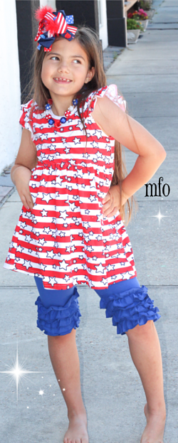 Shorts & Top Set Red, White, Blue Stars