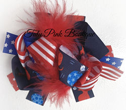 Hair Bow Boutique Layered Feather Bow Red White Blue