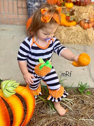 Romper Halloween Pumpkin