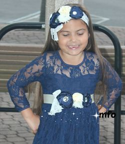 Headband & Sash Set Navy Ivory White