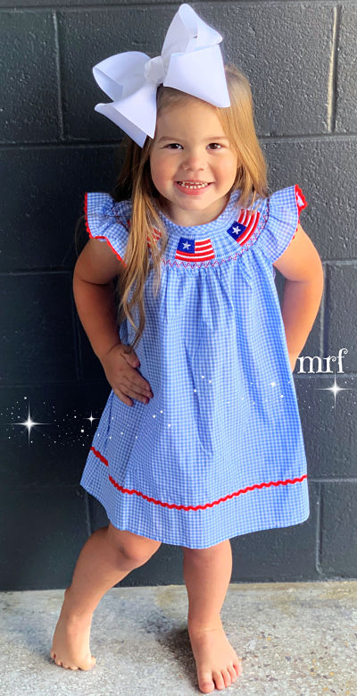 Smocked Dress Flag Red White Blue