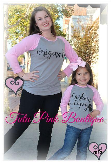 Top Mommy & Me Original Carbon Copy Grey Pink