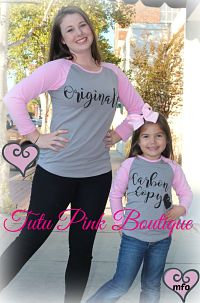 Top Mommy & Me Original Carbon Copy Grey Pink