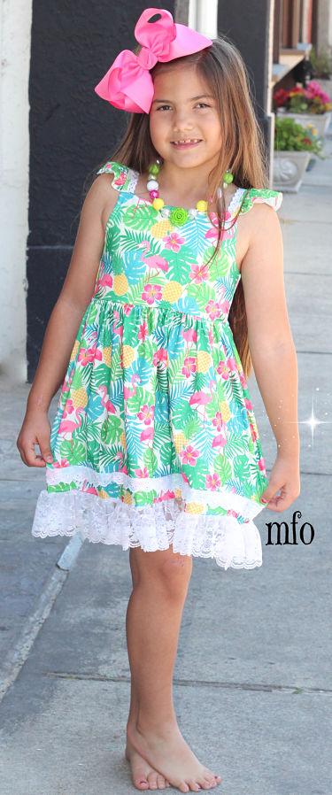 Boutique Dress Tropical Flamingo