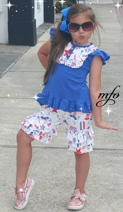 Shorts & Ruffle Top Set Red White Blue Unicorn