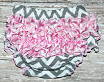 Bloomers Cotton Gray Chevron & Satin Pink Chevron Ruffles