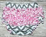 Bloomers Cotton Gray Chevron & Satin Pink Chevron Ruffles