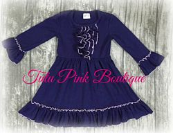 Boutique Ruffle Dress Navy