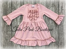 Boutique Ruffle Dress Dusty Rose