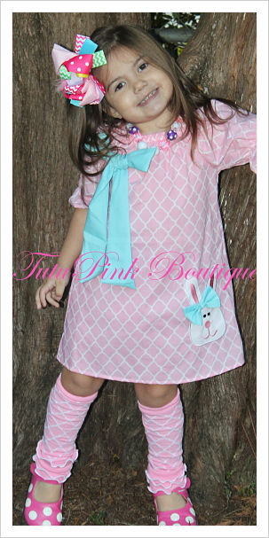 Boutique Dress Short Sleeve Cotton Candy Easter Bunny Quatrefoil Pink