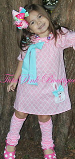Boutique Dress Short Sleeve Cotton Candy Easter Bunny Quatrefoil Pink