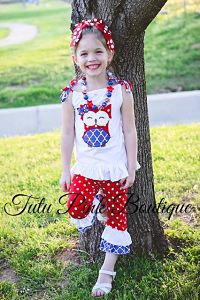 Ruffle Capri & Ruffle Tunic Red White Blue Owl