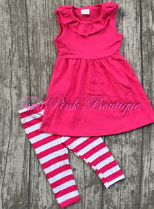 Capri & Ruffle Tunic Hot Pink White Stripe