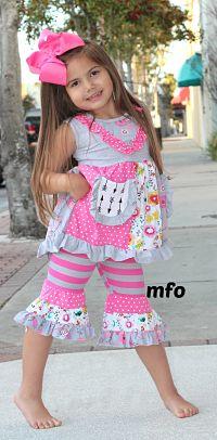 Ruffle Capri & Ruffle Tunic Spring Pink Gray