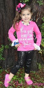 Capri Sparkle Pants & Top Set This Girl Runs On Cupcakes & Jesus