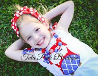 Chunky Necklace Red, White, Blue Red Star Petite Series