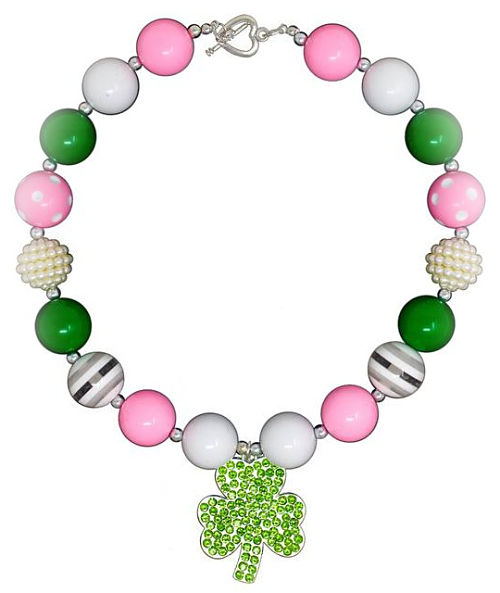 Chunky Necklace Shamrock Pink Green