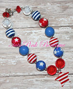 Chunky Necklace Red, White, Blue Stripe Star Petite Series