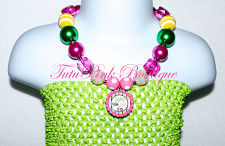 Chunky Necklace Hot Pink & Green John Deere Inspired Statement Series