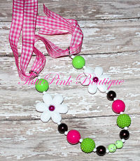 Chunky Necklace Hot Pink & Green White Flower John Deere Inspired Statement Series