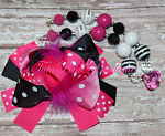 Chunky Necklace Hot Pink Black & White Petite Series