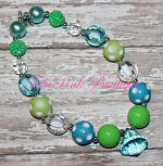 Chunky Necklace Turquoise and Lime Green Petite Series