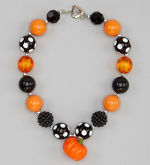 Chunky Necklace Pumpkin Black Orange Petite Series