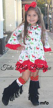 Boutique BOHO Ruffle Trim Dress Christmas Deer