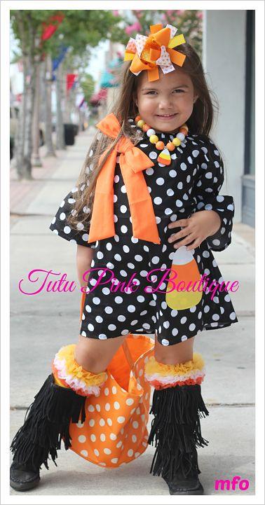 Boutique Dress Candy Corn Halloween Cutie