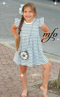 Boutique Dress Flutter Sleeve Gray Stripe