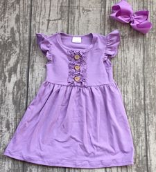 Boutique Ruffle Dress Lavender Purple