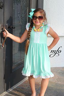 Boutique Dress Crisscross Back with Lace Mint