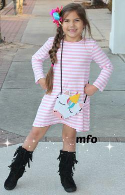 Boutique Dress Pink Stripe