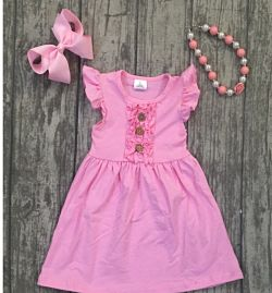 Boutique Ruffle Dress Pink