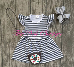 Boutique Dress Flutter Sleeve Gray Stripe