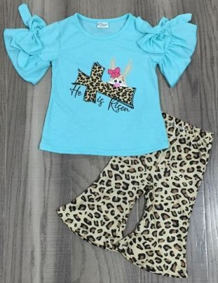 Shorts & Top Set Easter He is Risen Leopard