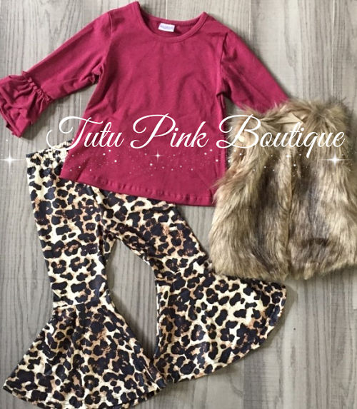 Bell Bottoms Leopard, Fur Vest & Top Set