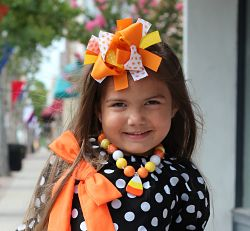 Hair Bow Boutique Layered Feather Candy Corn