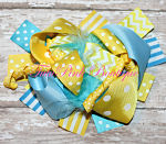Hair Bow Boutique Layered Feather Lemon Twist Turquoise Yellow