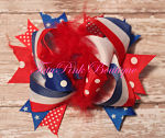 Hair Bow Boutique Layered Feather Red White Blue Stars