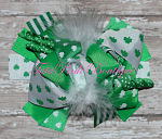 Hair Bow Boutique Layered Feather Shamrock St. Patrick's Day