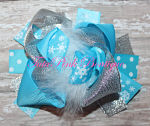 Hair Bow Boutique Layered Feather Snowflake Ice Queen Cutie Frozen Inspired