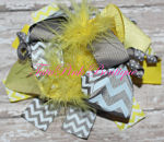Hair Bow Boutique Layered Feather Yellow & Grey Chevron Ray of Sunshine